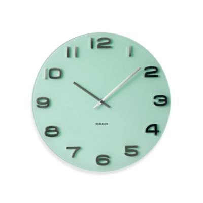 Present Time Karlsson 13.5-Inch Vintage Wall Clock in Pastel Green