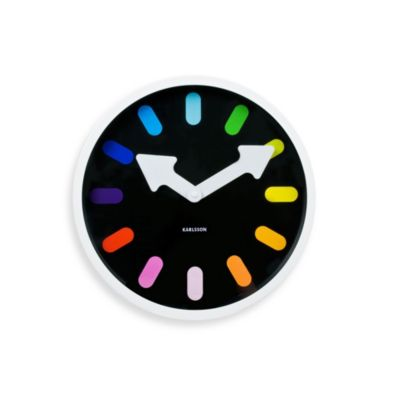 Present Time Karlsson 12-Inch Pictorgram Rainbow Wall Clock