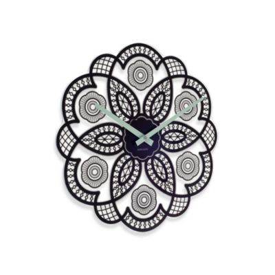 Present Time Karlsson 15-Inch Lace Cut Out Wall Clock in Black
