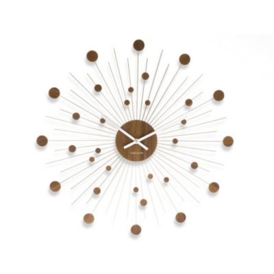 Present Time Karlsson 20-Inch Remote Wood Discs Wall Clock
