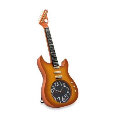 Present Time Electric Guitar Plastic Clock with Stand