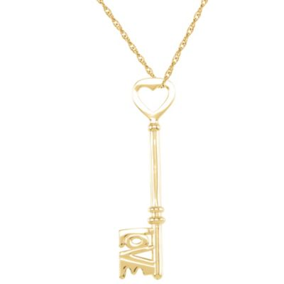 "14K Yellow Gold ""Love Is The Key®"" Heart Pendant"