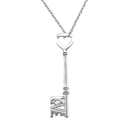 "Sterling Silver ""Love Is The Key®"" Heart Pendant"