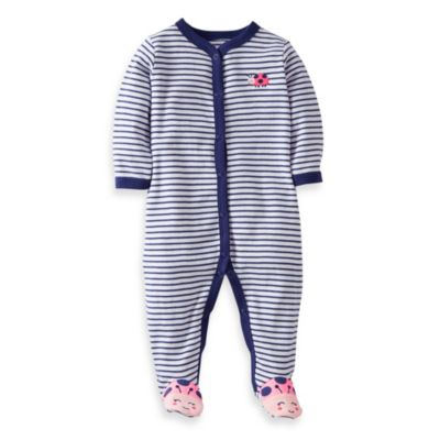 Carter's® Navy Stripe Ladybug 1-Piece Footie