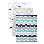 Just Born® 3-Pack Muslin Swaddle Blanket in Navy Combo