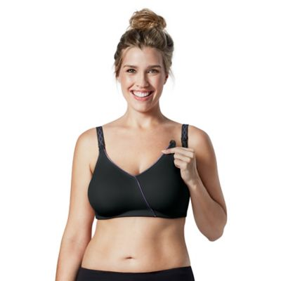 Bravado Essential Embrace™ Size 34 D/DD (E) Nursing Bra in Black w/Purple Piping