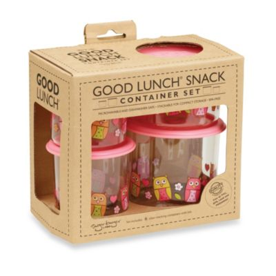 Sugarbooger® by o.r.e Good Lunch 4-Piece Snack Container Set in Hoot!