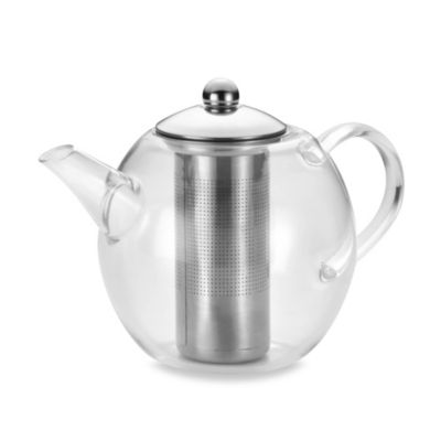 BonJour® 4-Cup Round Glass Teapot with Shut-Off Infuser