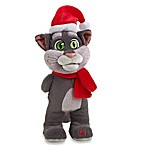 Interactive Talking Tom 11-Inch Plush Christmas Cat with Red Scarf and Santa Hat