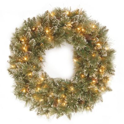 National Tree 24-Inch Glittery Bristle Pine Wreath