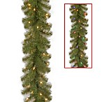 National Tree 9-Foot x 10-Inch North Valley Spruce Garland Pre-Lit with 50 Color Changing LED Lights