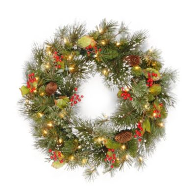National Tree 24-Inch Wintry Pine Wreath with Timer