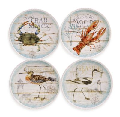 Certified International Beach Cottage by Susan Winget 11-Inch Dinner Plate (Set of 4)