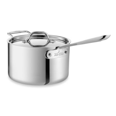 All-Clad Stainless Steel 3-Quart Covered Saucepan with Helper Handle