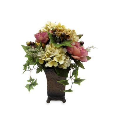 17.5-Inch Mixed Rose, Peony and Hydrangea Decorative Arrangement in a Square Urn