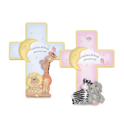 "Precious Moments® ""God Bless All Things Great and Small"" Cross with Easel for Boy"