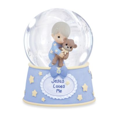 Precious Moments® Jesus Loves Me Boy with Teddy Musical Water Globe