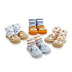 Cutie Pie® 4-Pack Animal Print Character Sock Set in Blue/Orange