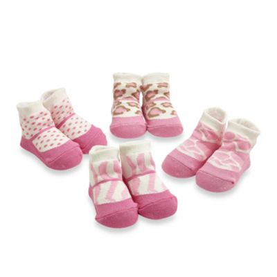 Cutie Pie® 4-Pack Animal Prints Sock Set in Pink