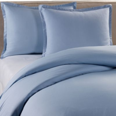 Pure Beech Percale Twin Duvet Cover Set in Blue