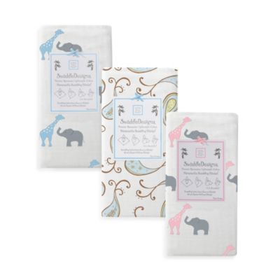 SwaddleDesigns® Triplets Paisley Marquisette Swaddle Blanket in Pastel Blue