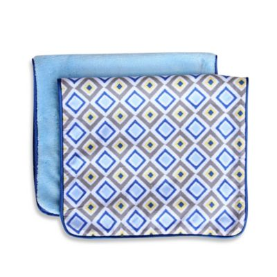 Caden Lane® Ikat Burp Cloth in Blue Diamond (Set of 2)