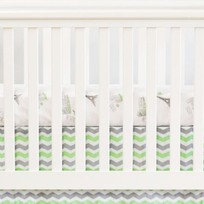 Oliver B Chevron Flat Panel Crib Skirt in Light Lime Green