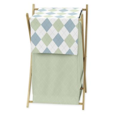 Sweet Jojo Designs Argyle Laundry Hamper in Blue/Green