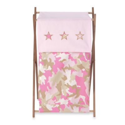 Sweet Jojo Designs Camo Laundry Hamper in Pink/Khaki