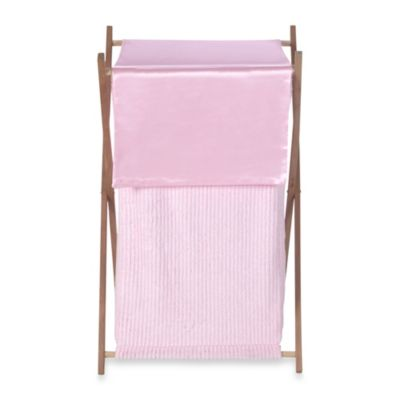 Sweet Jojo Designs Pink Chenille and Satin Laundry Hamper