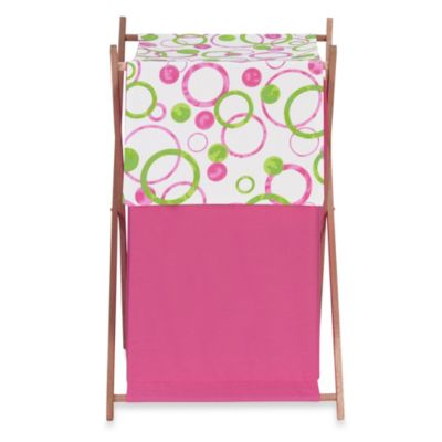 Sweet Jojo Designs Mod Circles Laundry Hamper in Pink/Green