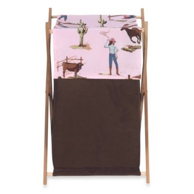 Sweet Jojo Designs Cowgirl Laundry Hamper in Pink/Brown
