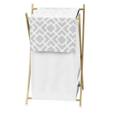 Sweet Jojo Designs Diamond Laundry Hamper in Grey/White