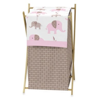 Sweet Jojo Designs Mod Elephant Laundry Hamper in Pink/Taupe