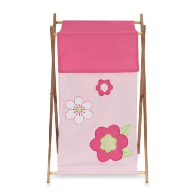 Sweet Jojo Designs Flower Laundry Hamper in Pink/Green