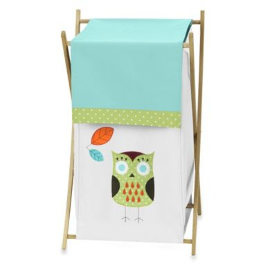 Sweet Jojo Designs Hooty Laundry Hamper in Turquoise/Lime
