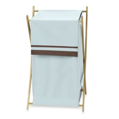 Sweet Jojo Designs Hotel Laundry Hamper in Sky Blue/Chocolate Brown