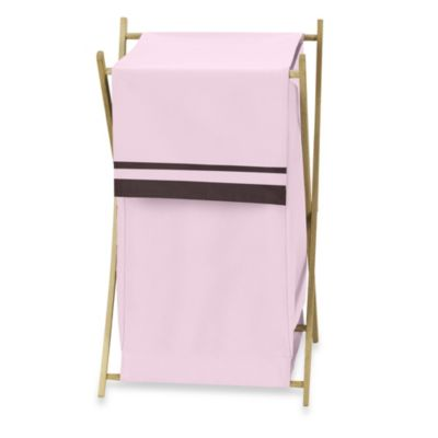 Sweet Jojo Designs Hotel Laundry Hamper in Pink/Chocolate Brown