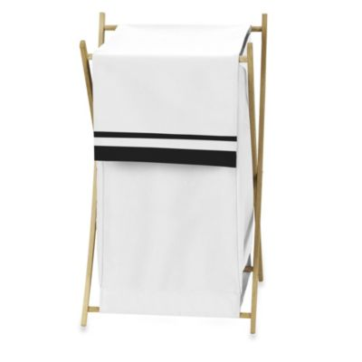 Sweet Jojo Designs Hotel Laundry Hamper in White/Black
