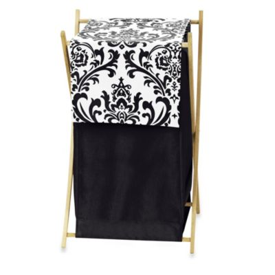 Isabella Laundry Hamper in Black/White