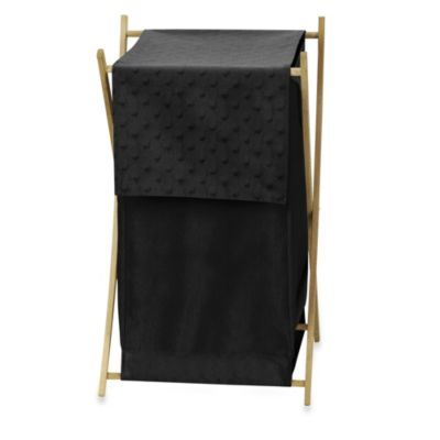 Sweet Jojo Designs Minky Dot Laundry Hamper in Black