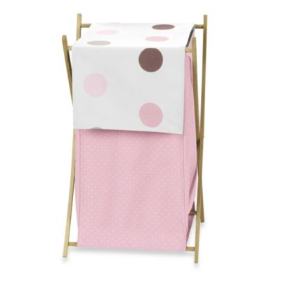Sweet Jojo Designs Mod Dots Laundry Hamper in Pink/Chocolate