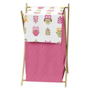 Sweet Jojo Designs Happy Owl Laundry Hamper in Pink