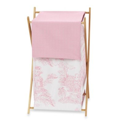 Pink French Toile Laundry Hamper