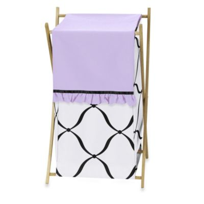 Sweet Jojo Designs Princess Laundry Hamper in Black/White/Purple