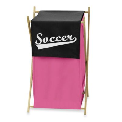 Sweet Jojo Designs Soccer Laundry Hamper in Pink
