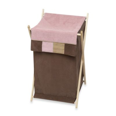 Sweet Jojo Designs Soho Laundry Hamper in Pink/Brown
