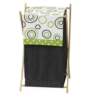 Sweet Jojo Designs Spirodot Laundry Hamper in Lime/Black