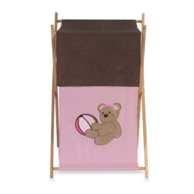 Sweet Jojo Designs Teddy Bear Laundry Hamper in Pink/Chocolate