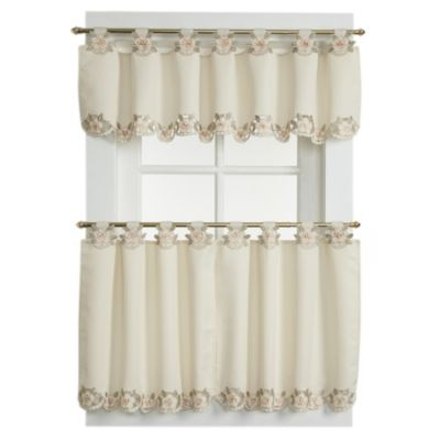 Capri Tab Top 24-Inch Window Curtain Tier Pairs in Ecru/Peach